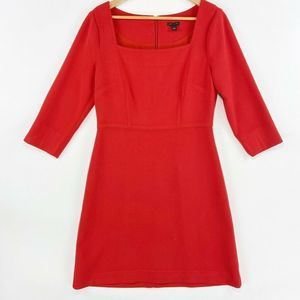 Ann Taylor A Line Dress Red 3/4 Sleeves Lined 6